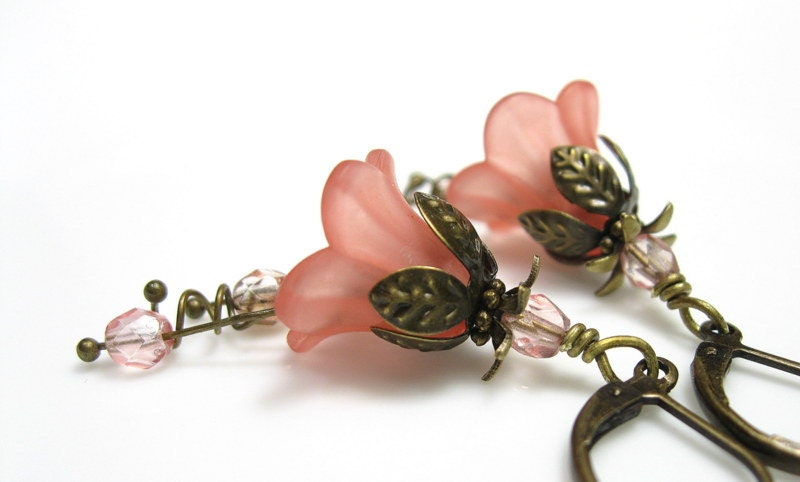 Coral, Lucite, Flower Earrings, Czech Glass, Vintage Style, Antiqued Brass