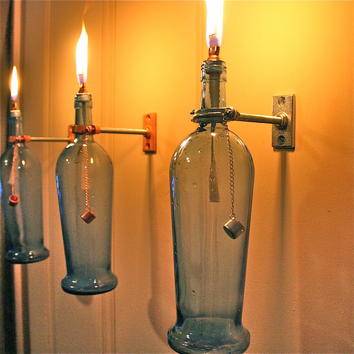 Blue Wine Bottle Oil Lamp - INDOOR - Modern Lighting - gift
