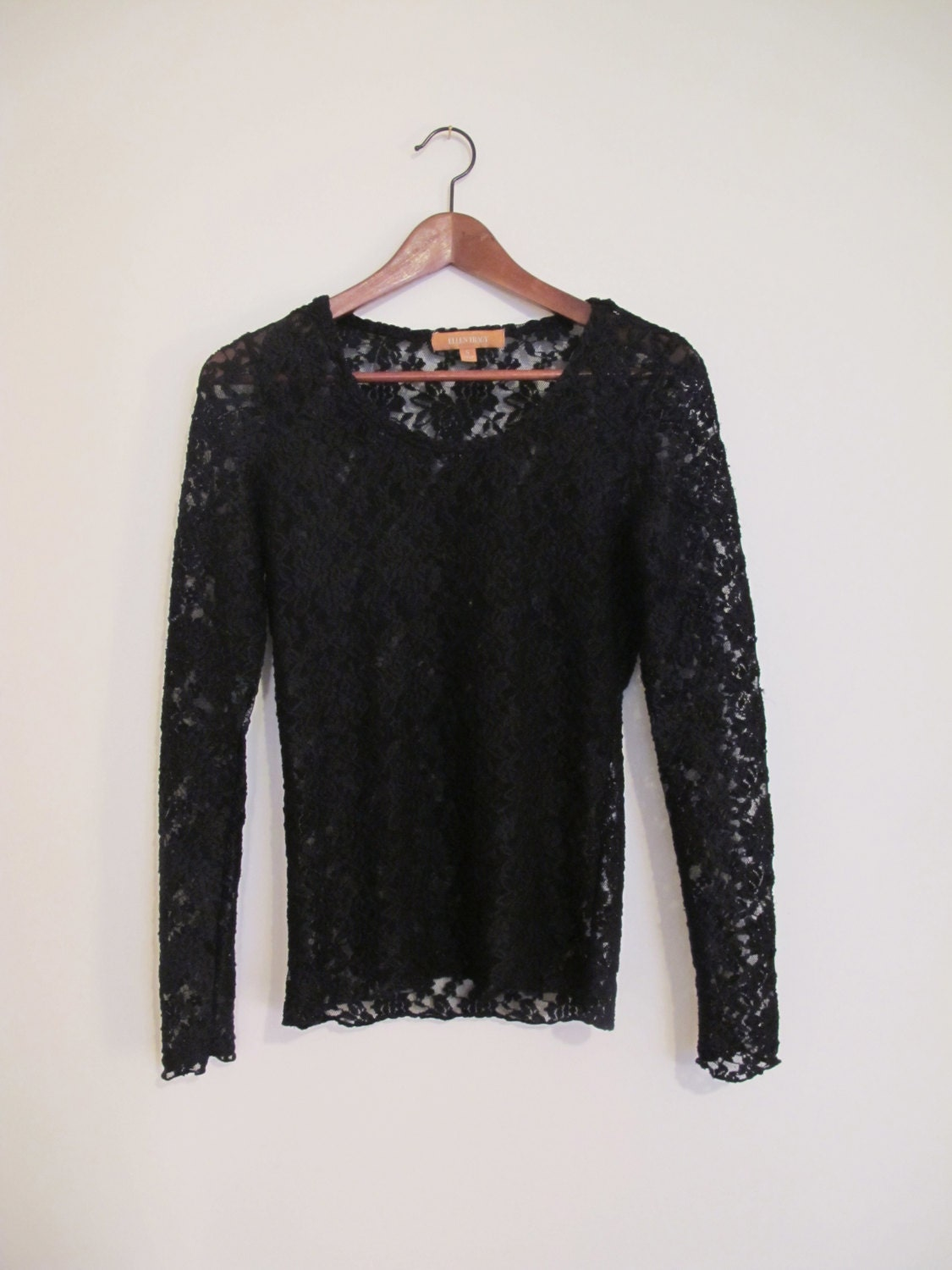 90s Vintage Black Lace Long Sleeved Shirt