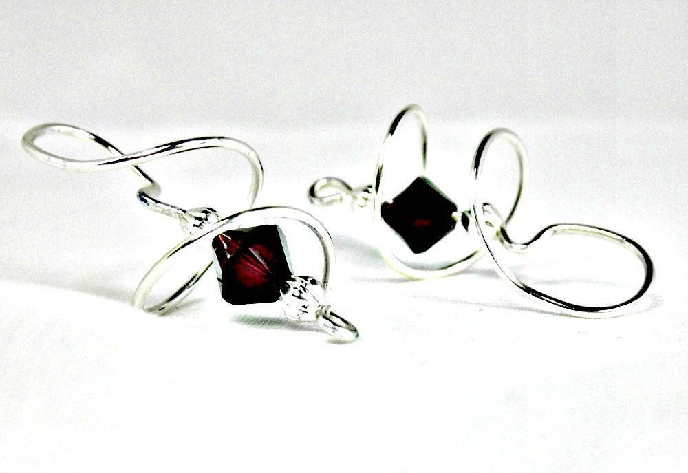 Silver Swirl with Red and Clear Swarovski Crystals Earrings
