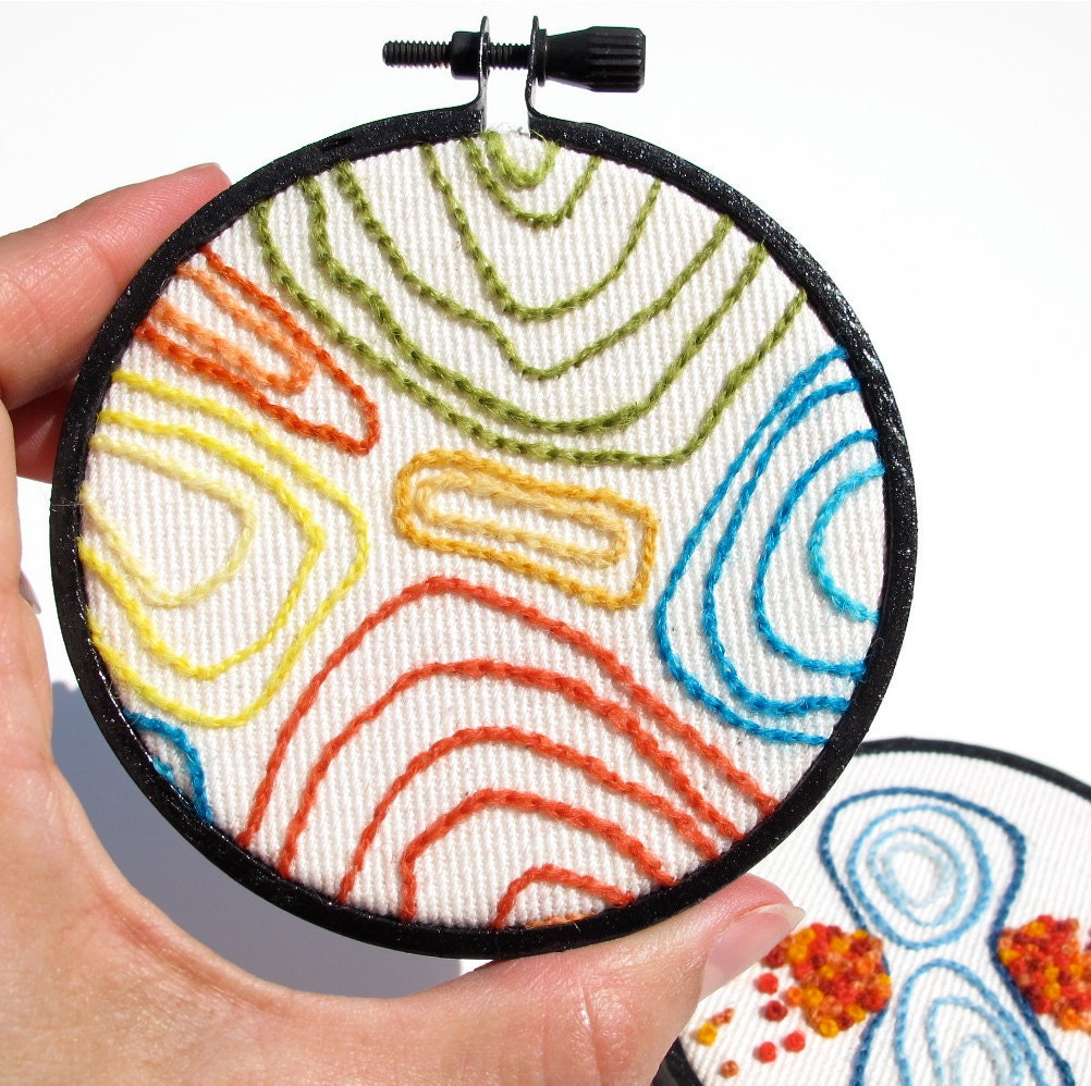 Hand Embroidered Hoop Art:   Rainbow Faux Bois