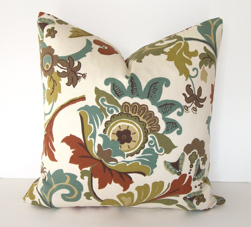 Decorative Designer Pillow Cover - 18x18 inches - Rust - Brown - Olive Green - Teal - Taupe - Ivory