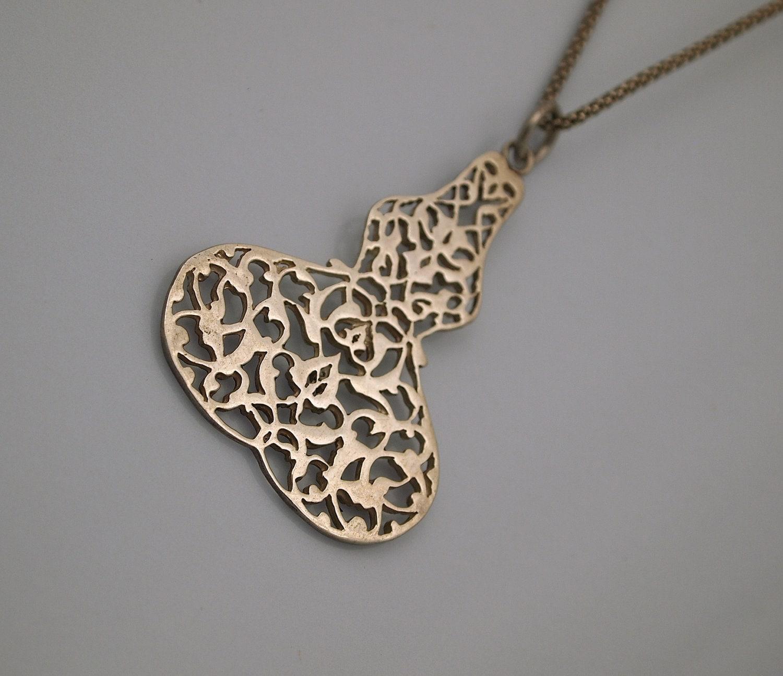 Mystic Pendant   - Rumi Style Flowers  - Sterling Silver - serpilguneysudesigns