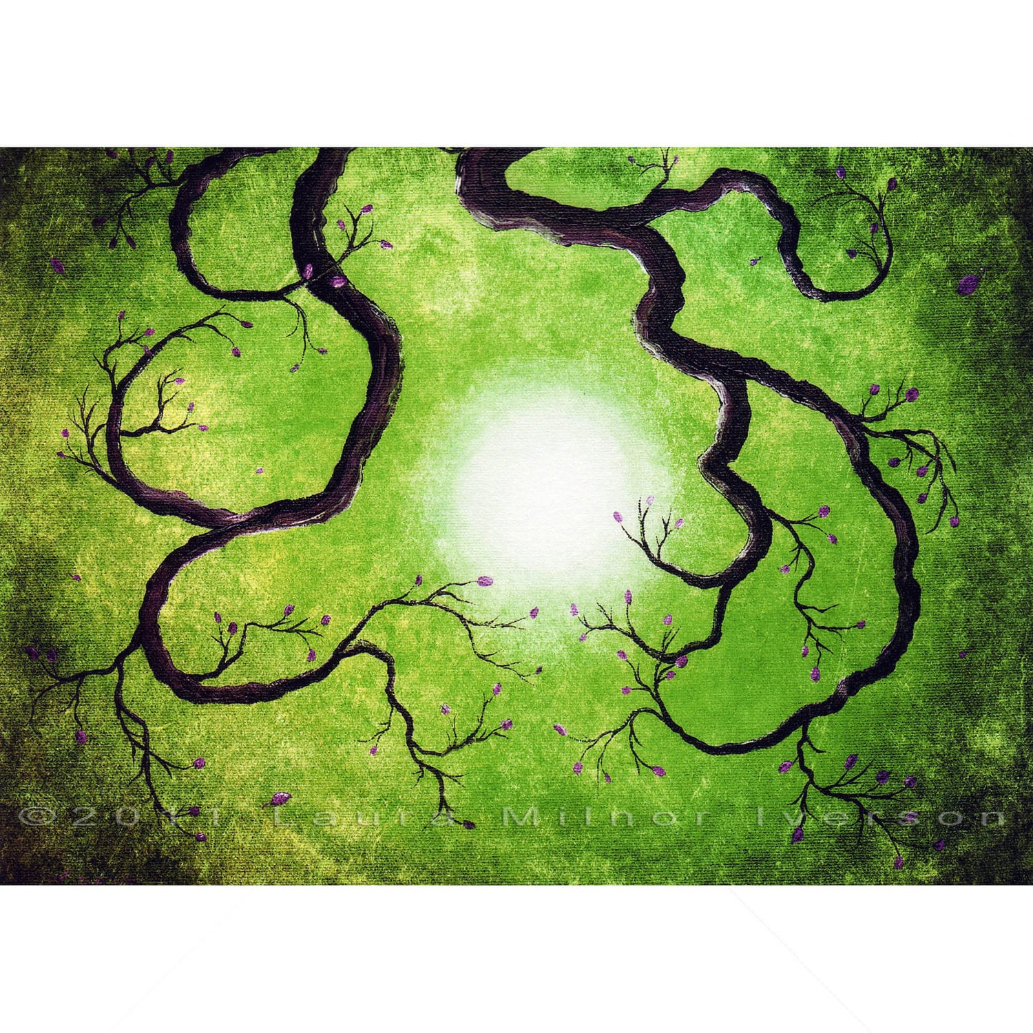 Green Tree Branch Zen Grunge Moon Nature Surreal Dark Art Print