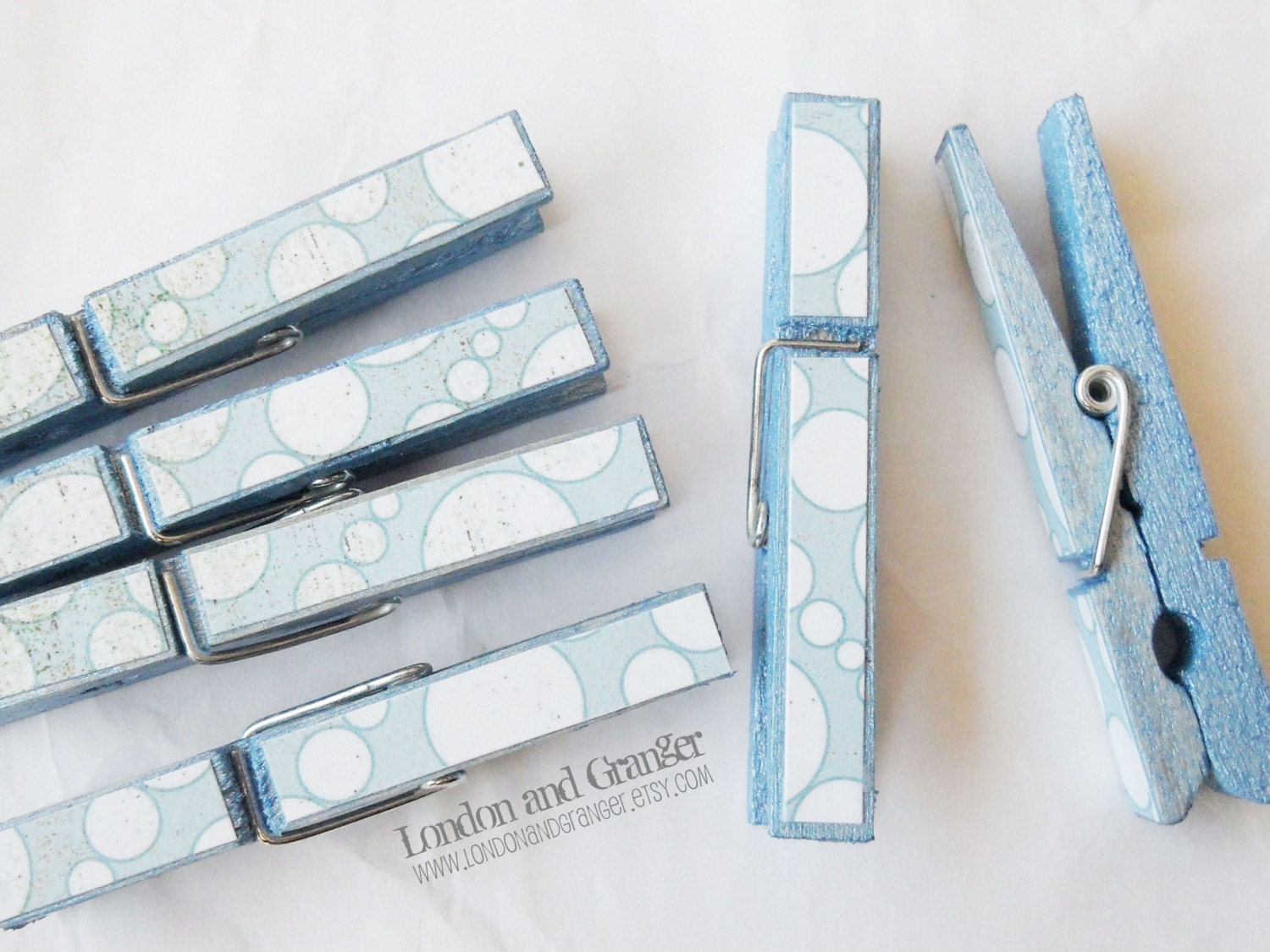 Shimmering Baby Blue and Bubbles, Hand Painted Clothespins, Something Blue, Baby Shower Gift, Home Decor (set of 6) - LondonandGranger