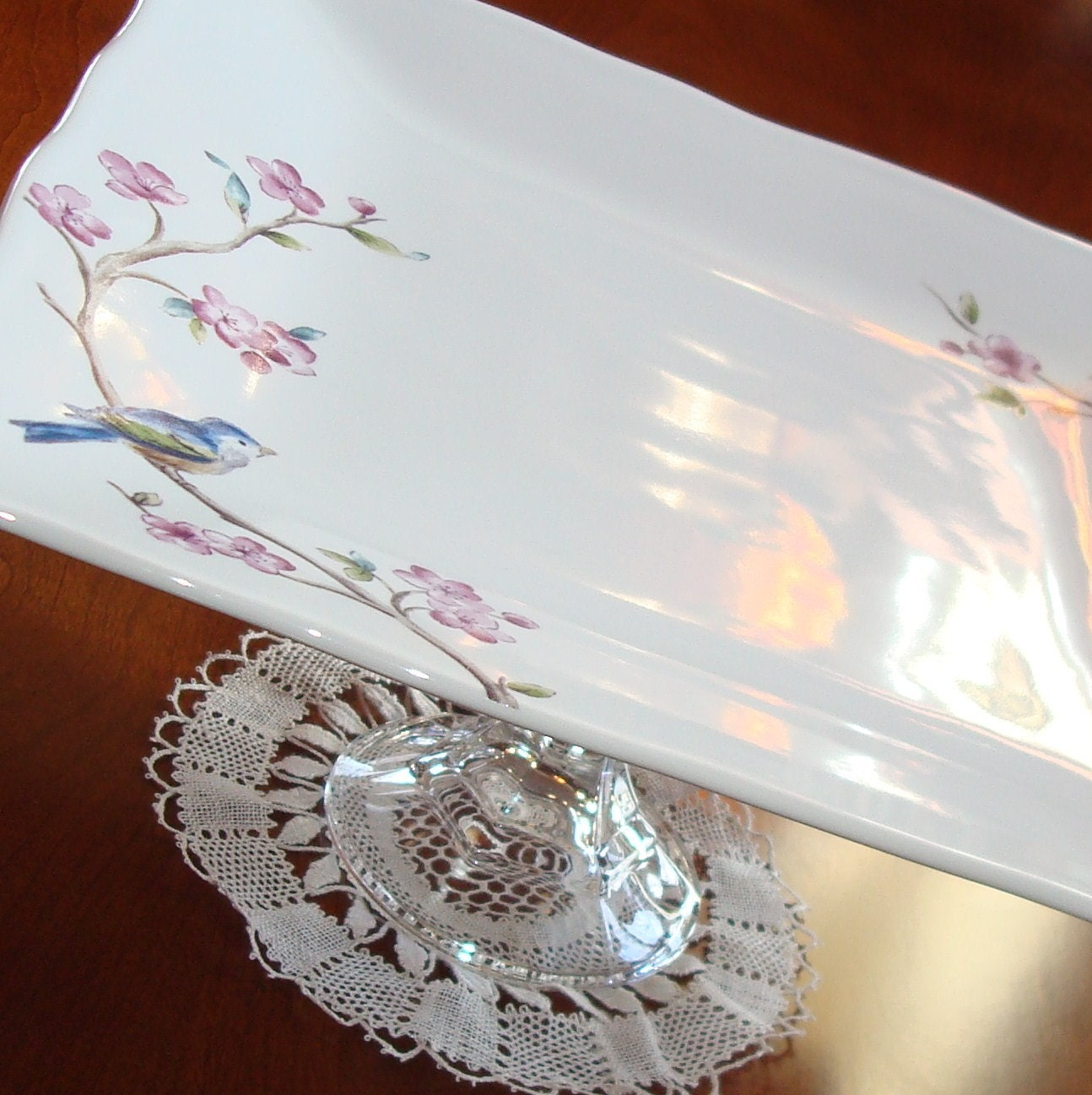 Bluebird and Blossoms Dessert Plate Pedestal No. 060 (11 x 5 inches) - makingtimetc