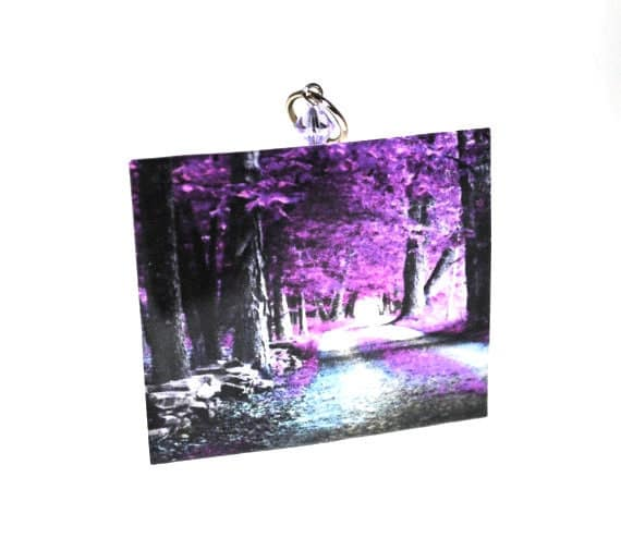 Purple leaves and trees.  Fantasy Forest Necklace.  Small.