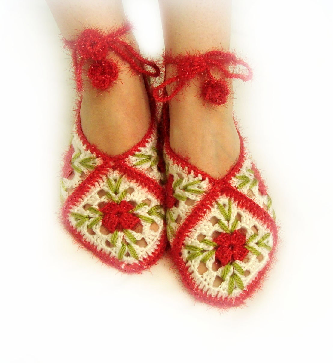 white, lust red, spring bud green home slippers, socks, white home shoes, holiday, style, mothers day - LovelyKnitShop