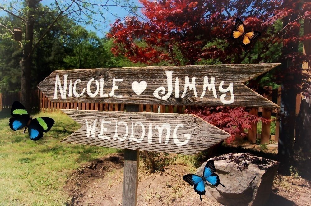 Wedding Signs 2 Directional arrow Signs With 1 Stake Hand Painted Wedding