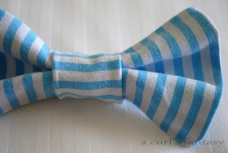 Small Blue and White Striped Hair Bow