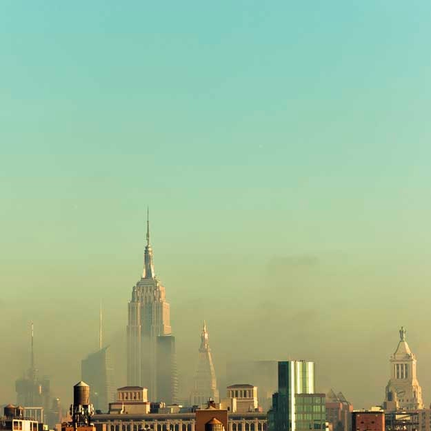 New York City Skyline Photography mint green wall by Raceytay