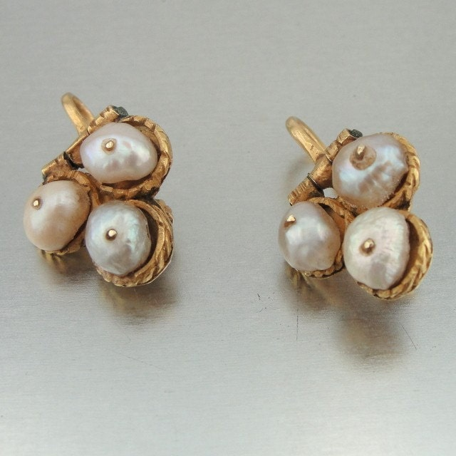 HadarVintage Bukharian Earrings 22K Yellow Gold With Salt water Pearls (eb225) - HadarVintage