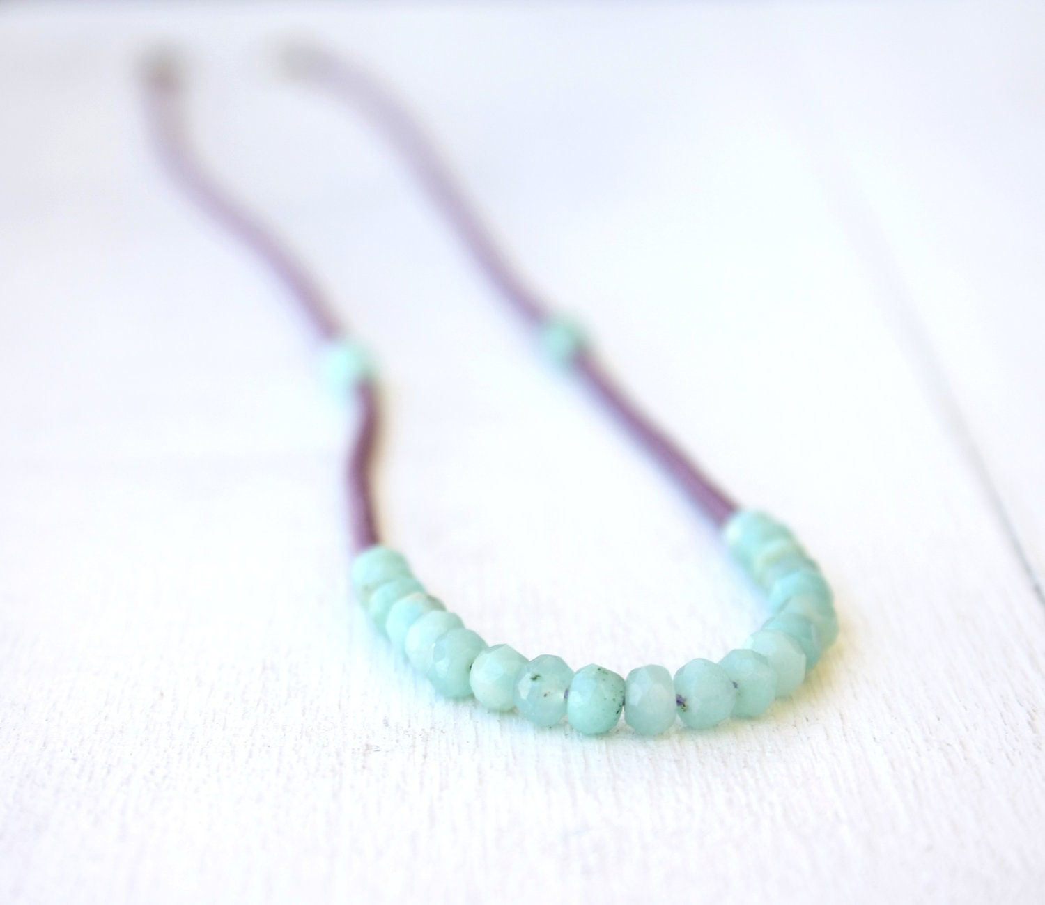 Purple and Seafoam Green necklace / beaded necklace mint and purple / spring summer fashion / pastel colors FREE SHIPPING - SilverLinesJewelry
