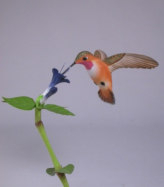Open-winged Rufous Hummingbird Hand Carved Wooden Bird