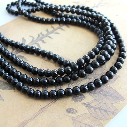 Black glass pearl beads, 3 strands 4mm, 96 inch 600 PCs, simulated round, pearl necklace supplies