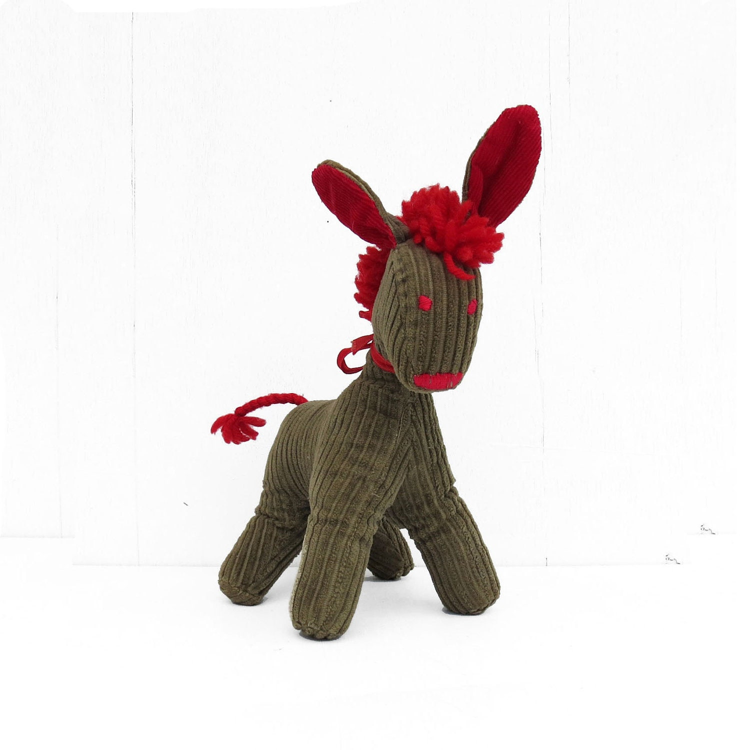 vintage plush donkey brown and red corduroy yarn HEEE-HAW - DrVintage
