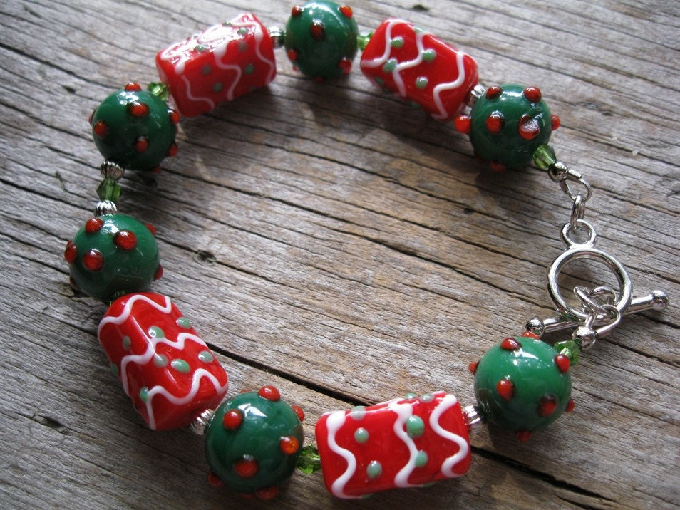Christmas Green, Red Lampwork Bracelet for Large Wrist