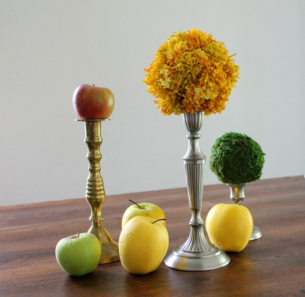 Craspedia Topiary on a Vintage Candlestick