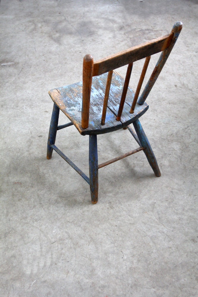 Antique Blue Wood Chair // The Folk - 86home