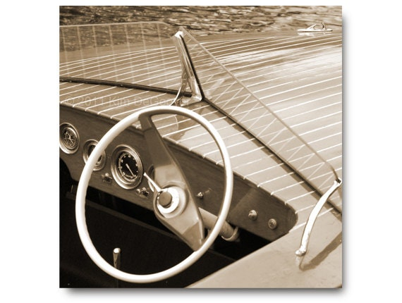 Chris Craft  Boat Photo, vintage steering wheel, glass gauges, polished wood, dad, classic styling, nautical, collector