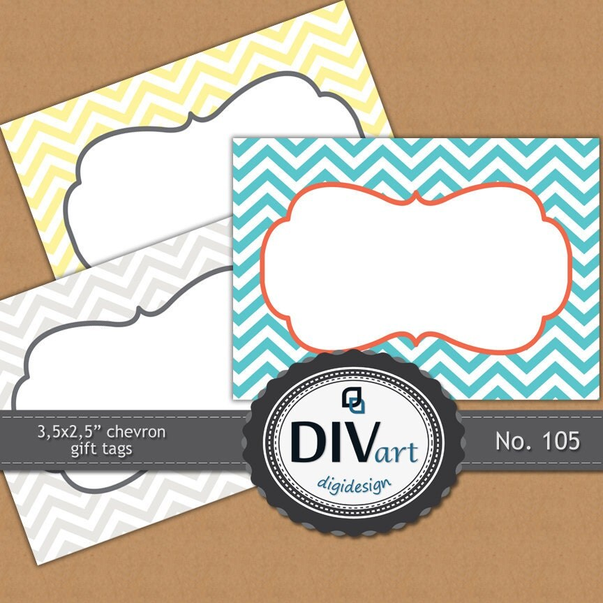 "PRINTABLE Gift Tags 3,5x2,5"", chevron, custom colors - gift tags, holiday gift tags, stickers, scrapbooking - No. 105"