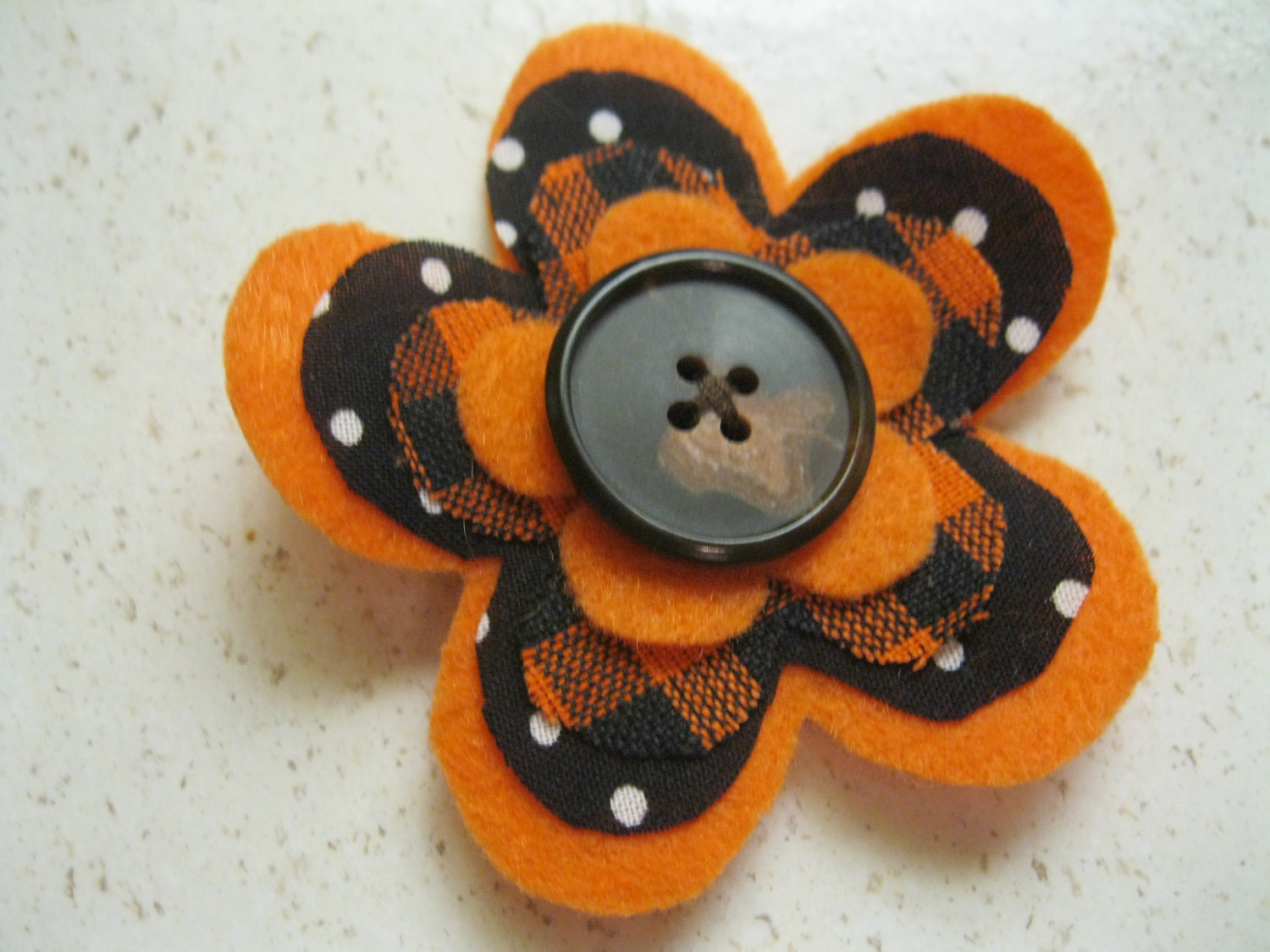 Fabric and Felt Flower Hair Clip in Orange, Black Plaid, and Black, White Polka Dots with Button for Fall, Autumn, or Halloween