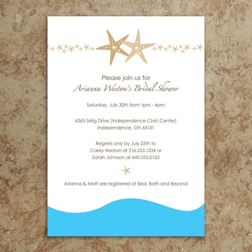 Bridal Shower Invitations Beach Themes