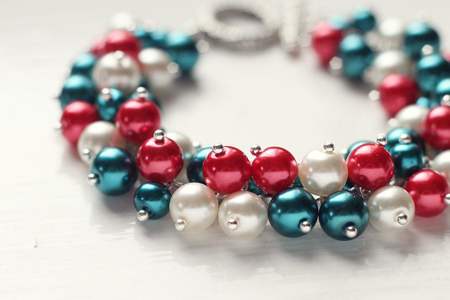 Deep Teal and Red Christmas Wedding Bridesmaid Jewelry Pearl Cluster