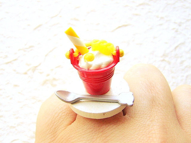 Kawaii Food Ring Ice Cream Sundae Miniature Food Jewelry