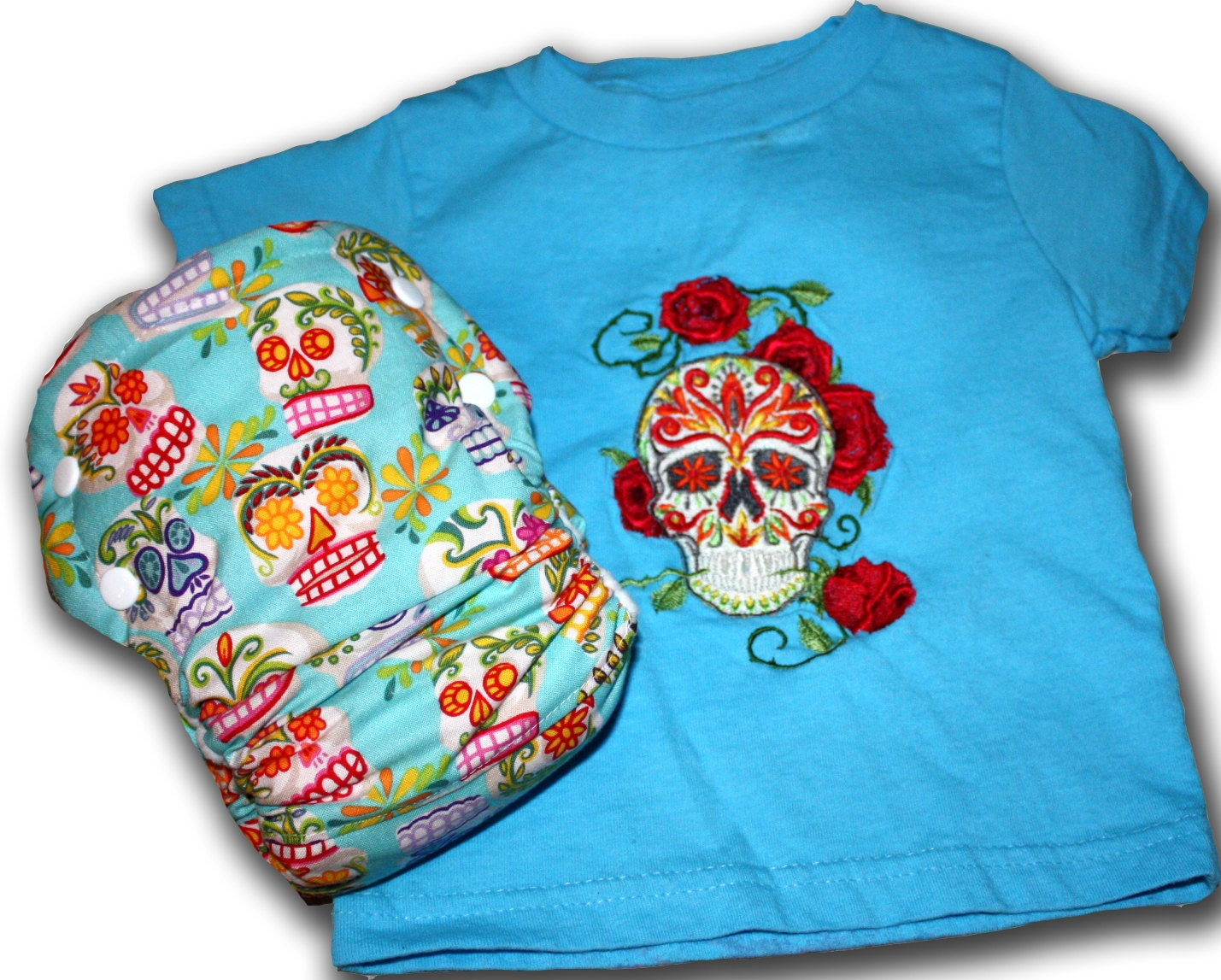 Calaveras/Sugar Skulls - Medium /Large 18m-24m AI2 Cloth Diaper and Embroidered Tee Set