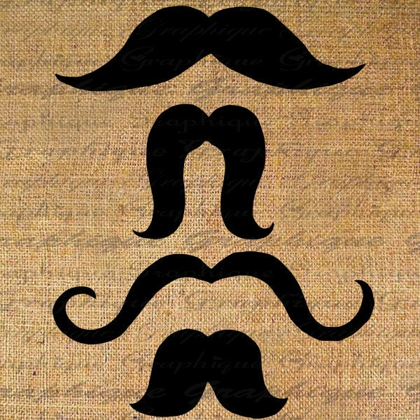 MUSTACHES Digital Collage Sheet Download Burlap Fabric Transfer 4 Mustache Styles Humorous Funny Iron On Pillows Totes Tea Towels No.3425