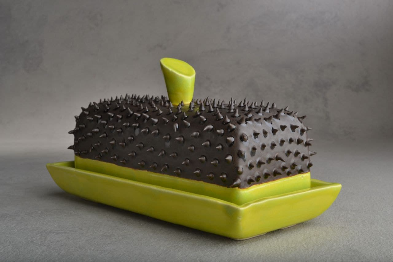 Butter Dish : Black and Chartruese Dangerously Spiky Butter Dish by Symmetrical Pottery Made To Order
