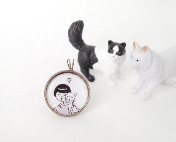 Cat lady kitty pendant