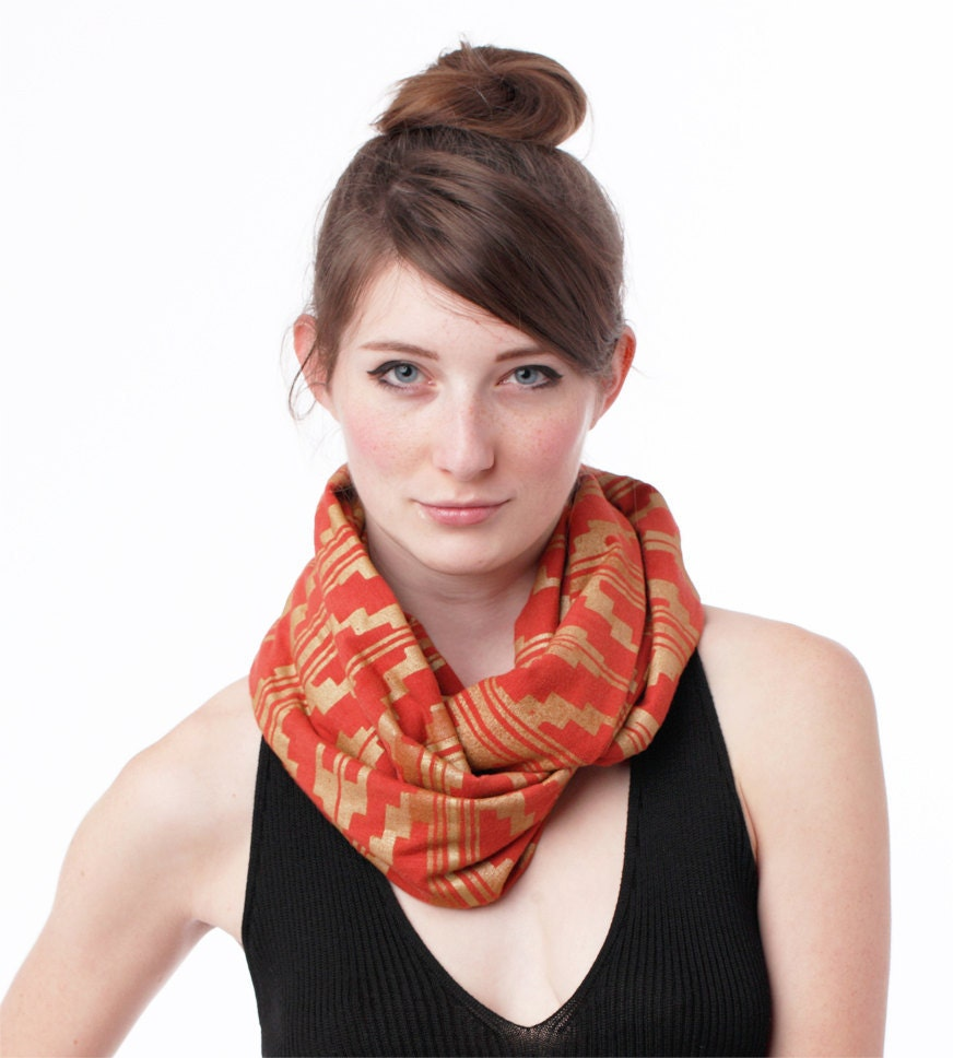 Hand Printed Infinity Scarf in Gold 'Southwest' Print on Rust Organic Jersey