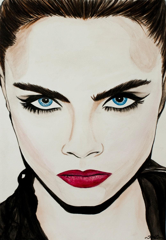 Fine Art Print of Supermodel Cara Delevingne