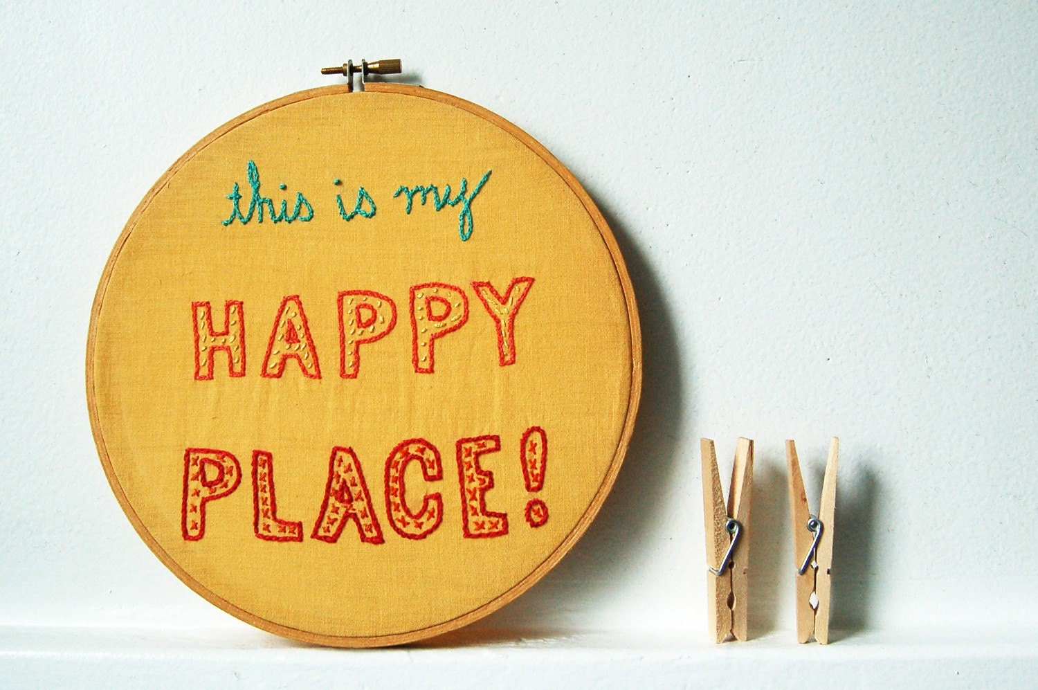 Design Your Own. This is My Happy Place, Hand Embroidery in 8 inch Wooden Hoop by merriweathercouncil on Etsy