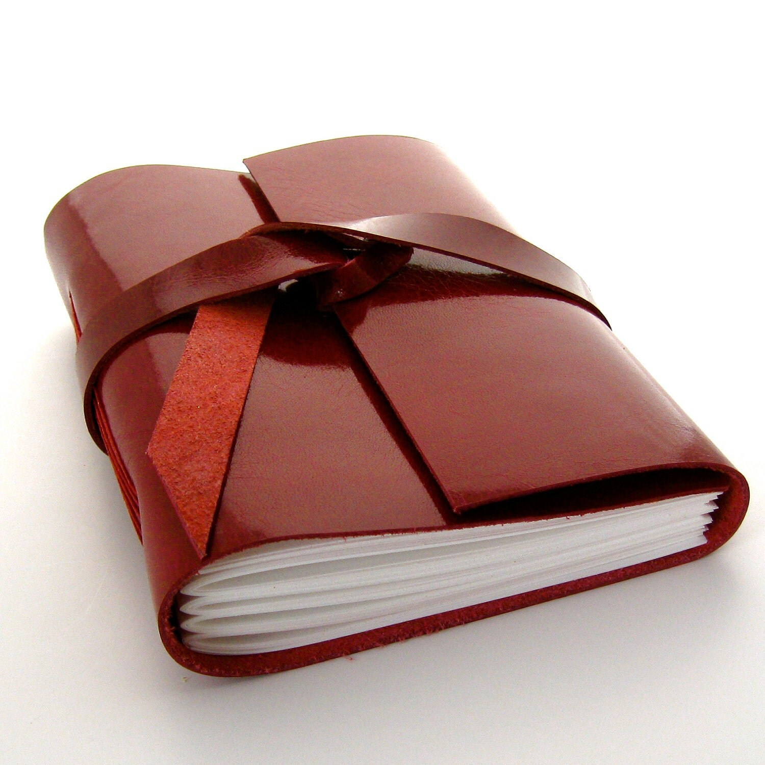 Red Leather Journal and Sketchbook in Glossy Garnet