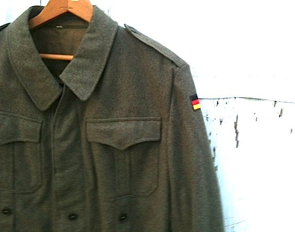 RESERVED for Christina vintage german military wool khaki army green retro man woman autumn winter 1960s couture jacket - kateblossom