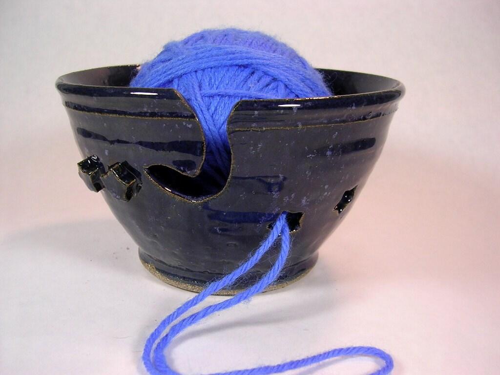 Fios de tricô tigela crochê tatting titular azul índigo esmalte