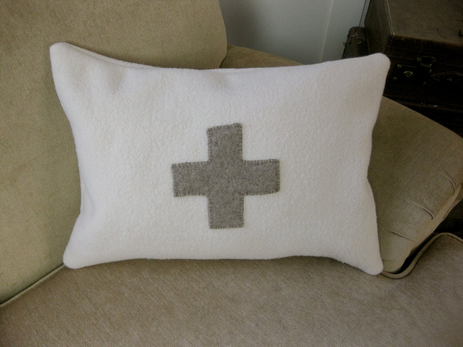 Beautiful Swiss Cross Pillow - Made from a Recycle Wool Sweater and a US Navy Blanket
