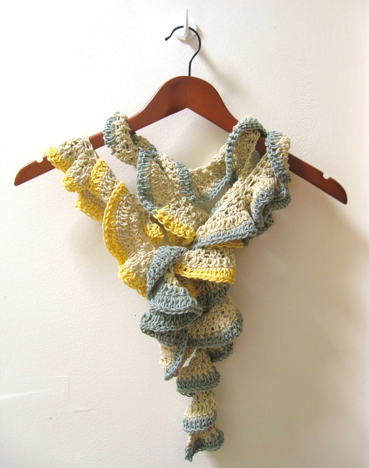Ruffle Scarf - Crochet Scarf - The Ruffle Scarf - Cotton Merino - Neutral Colorblock - One of a Kind - meganEsass