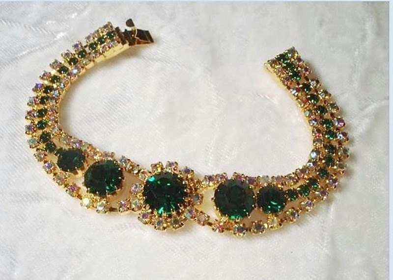 A Bit 'O The Irish Emerald Green Rhinestone Bracelet  1771ag-010909000 - bodaciousjewels
