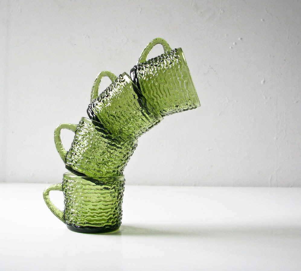 4 Green Glass Cups - Bark Design -  Coffee Tea Mugs - BeeJayKay