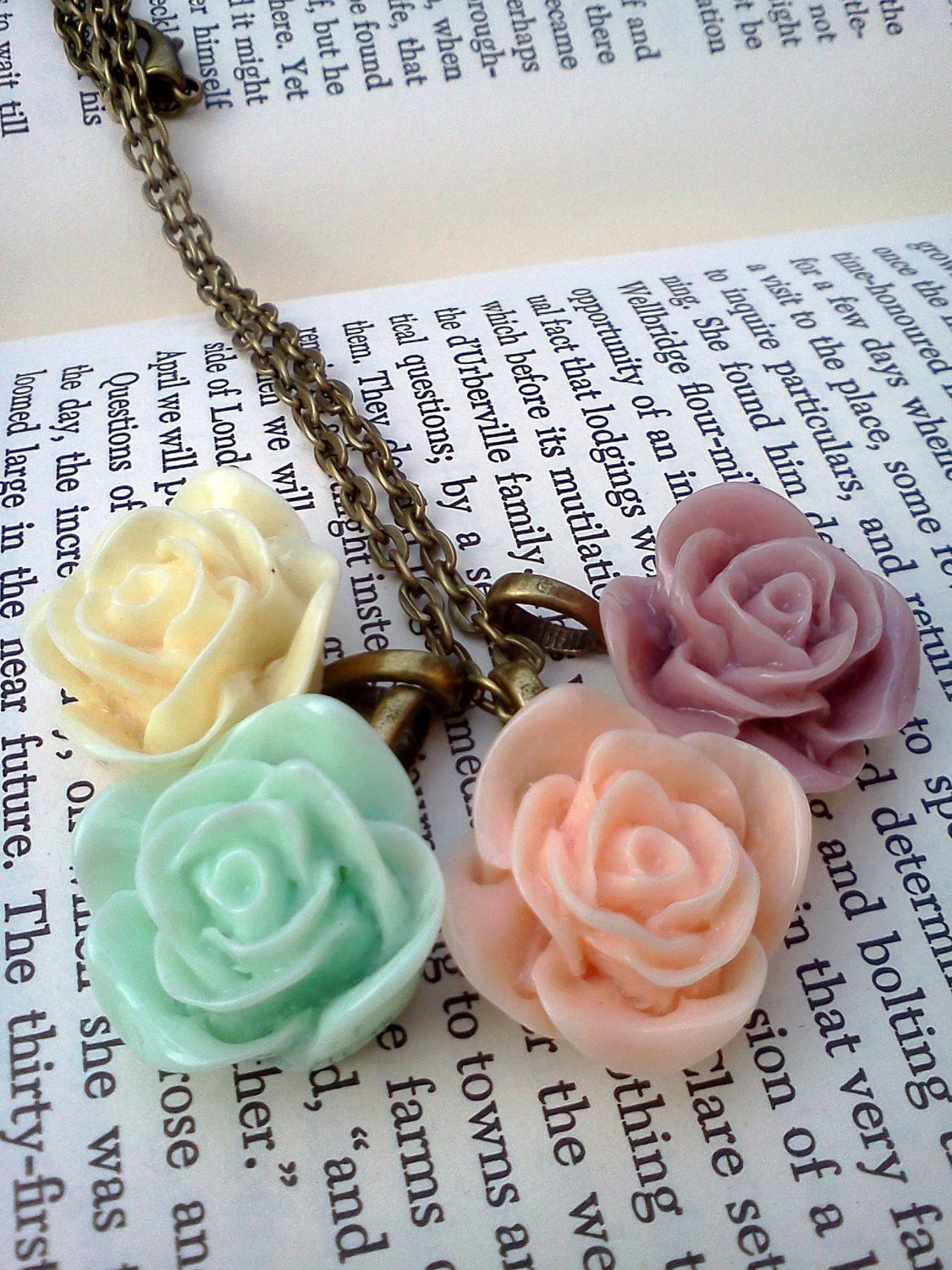 Victorian Rose Cabochon Necklace in Pretty Pastels