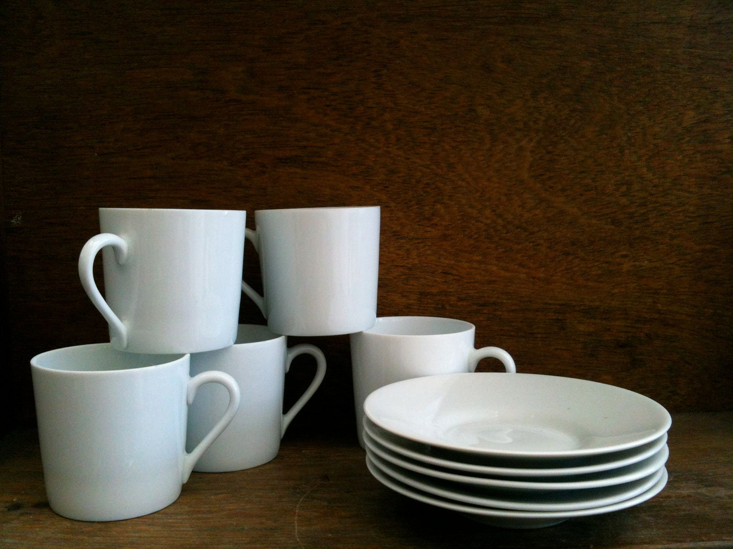 Vintage French Small Limoges White Coffee Cups, Set of 5 - EnglishShop
