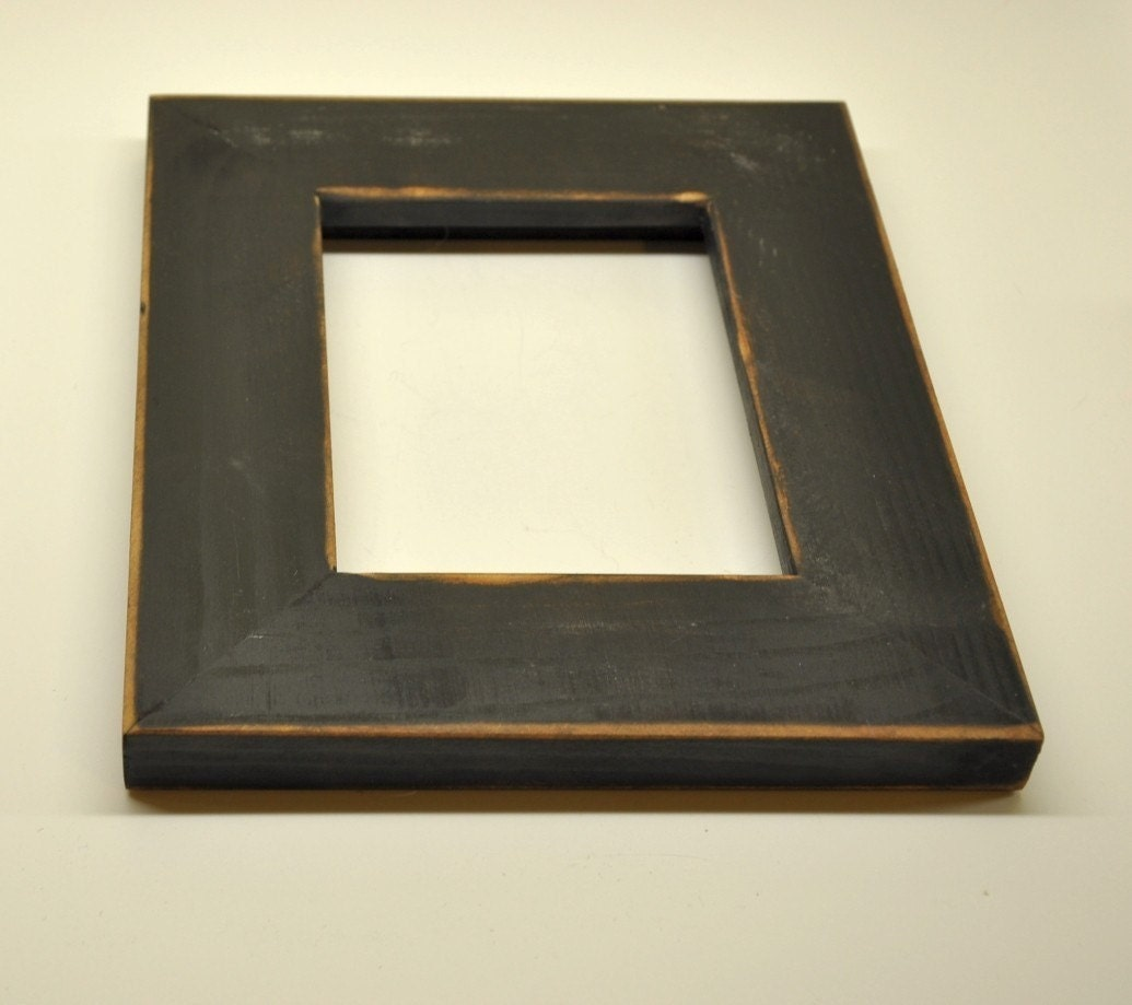 Black Picture Frame with Glass Backing and Mounting Hardware