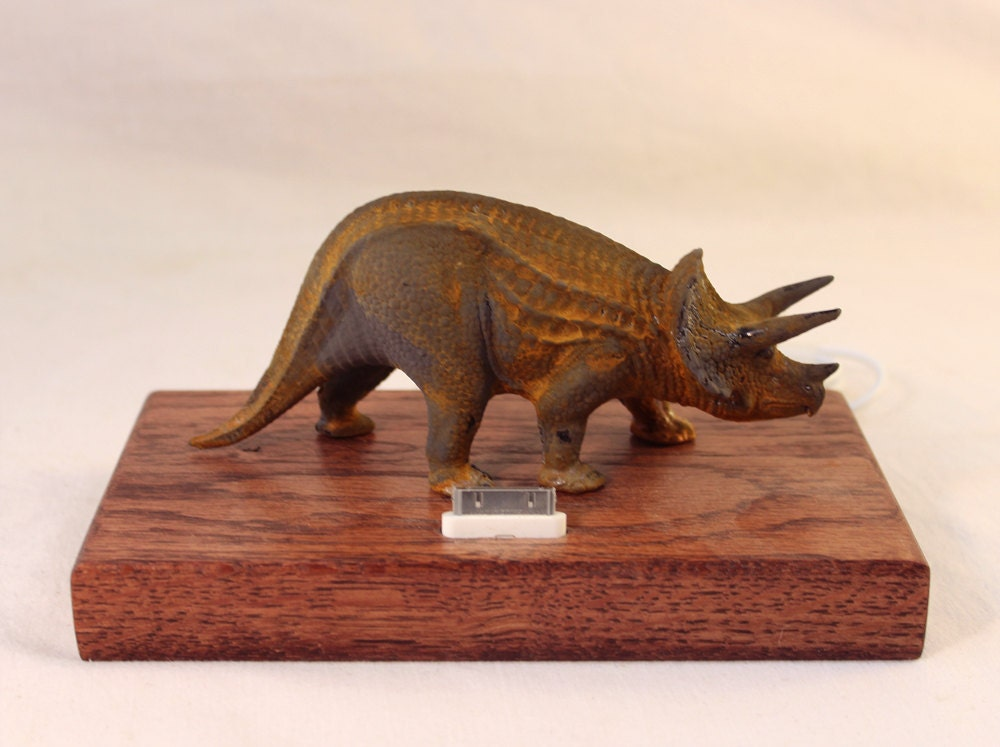 iPhone - iPod Dock -Charger and Sync Station - Oak -  Triceratops - Scary - One of a Kind - Rusty Dinosaur