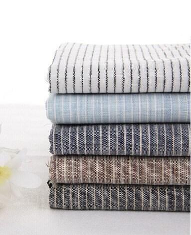 Cotton Linen Fabric Cloth -DIY Cloth Art Manual Cloth -Stripe Cloth 55x18 Inches - JolinTsai