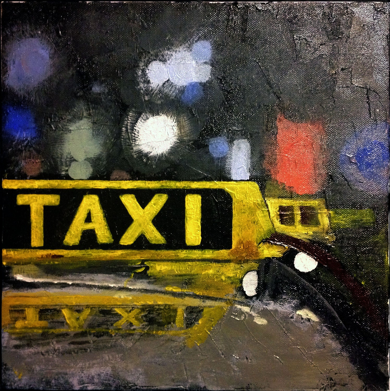 Taxi Sign Original Acrylic Painting