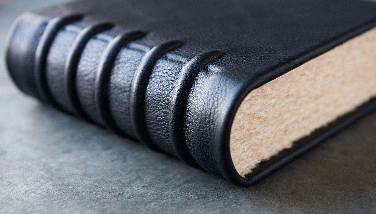 Leather Journal - 480 pages - Cord Bound - 6x6 - badgerandchirp